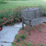 Bench on Brick and Flagstone Patio