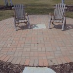 Brick Patio in Circle with Flagstone Accents